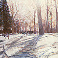 Snow at Broadlands Print by Paul Stewart