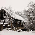 Snow Covered Bridge Poster by Robert Frederick