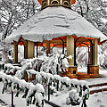 Snowy Gazebo - Greensboro North Carolina I Poster by Dan Carmichael