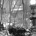 Snowy Night in Bryant Park II Poster by Miriam Cintron