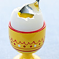 Soft boiled egg in cup Print by Elena Elisseeva