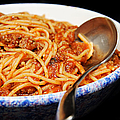 Spaghetti And Meat Sauce With Spoon Print by Andee Photography