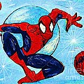 Spiderman Out of the Blue 2 Print by Saundra Myles