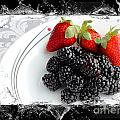 Splash - Fruit - Strawberries and Blackberries Poster by Barbara Griffin