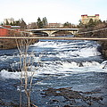 Spokane Falls in Winter Print by Carol Groenen