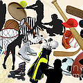 SPORTS SPORTS SPORTS Poster by Susan  Lipschutz