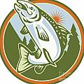 Spotted Speckled Trout Fish Jumping Poster by Aloysius Patrimonio