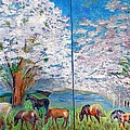 Spring and Horses Poster by Vicky Tarcau