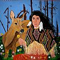 Squaw with Deer Poster by Linda Egland