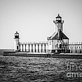 St. Joseph Lighthouses Black and White Picture  Poster by Paul Velgos