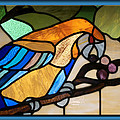 Stained Glass Parrot Window Print by Thomas Woolworth
