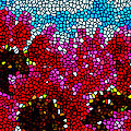Stained Glass Red Sunflowers Print by Lanjee Chee