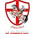 Stand Tall Happy St George Day Retro Poster Print by Aloysius Patrimonio
