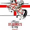 Stand Tall Stand Proud Happy St George Day Retro Poster Print by Aloysius Patrimonio