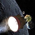 Starship Departing from Lunar Orbit Print by Don Dixon