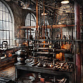 Steampunk - Room - Steampunk Studio Print by Mike Savad