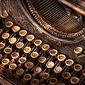 Steampunk - Typewriter - Too tuckered to type Print by Mike Savad