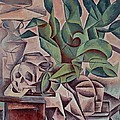 Still life showing skull Print by Kubista Bohumil