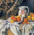 Still life with drapery Print by Paul Cezanne