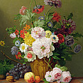 Still Life with Flowers and Fruit Poster by Anthony Obermann