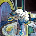STILL LIFE WITH LEMON AND TWO WHITE ROSES Print by Therese AbouNader