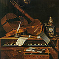 Still life with musical instruments Print by Pieter Gerritsz van Roestraten