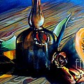 Still Life with Pumpkin and Tulips Print by Alessandra Andrisani