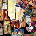 Still Life with Wine and Flowers for two take 2  Print by Everett Spruill