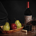 Still Life with Wine Bottle Print by Krasimir Tolev