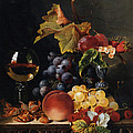 Still Life With Wine Glass And Silver Tazz Print by Edward Ladell