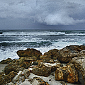 Stormy Sky and Ocean Waves Print by Julie Palencia