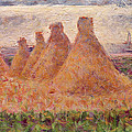 Straw Stacks Print by Georges Pierre Seurat