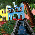 Street Hill In Old San Juan Print by Luis F Rodriguez