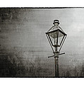 Street Lamp on the River in Black and White Poster by Brenda Bryant