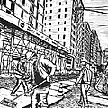 Street Work in New York Print by William Cauthern