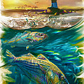 Striper and Lighthouse - Striped Bass Art Poster by Mike Savlen