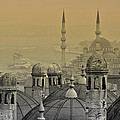 Suleymaniye mosque and New Mosque in Istanbul Print by Ayhan Altun