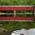 Summer Reflections at West Cornwall Covered Bridge Print by Thomas Schoeller