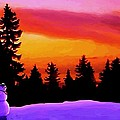 Sun Setting On Snow Poster by SophiaArt Gallery