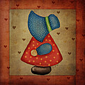 Sunbonnet Sue in Red and Blue Print by Brenda Bryant