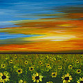 Sunflower Sunset - Flower Art By Sharon Cummings Print by Sharon Cummings