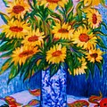 SUNFLOWERS  2   Art Deco Poster by Gunter  Hortz