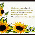 Sunflowers and Serenity Prayer Print by Barbara Griffin