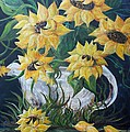 Sunflowers in an Antique Country Pot Print by Eloise Schneider