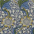 Sunflowers on Blue Pattern Print by William Morris