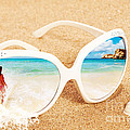 Sunglasses In The Sand Print by Christopher and Amanda Elwell