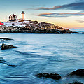 Sunset at Nubble Light-Cape Neddick Maine Print by Thomas Schoeller