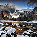 Sunset in Yosemite Valley Print by Peter Dang