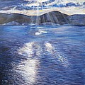 Sunset near Myrtos Beach Kefalonia Print by Robina Osbourne