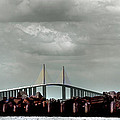 Sunshine Skyway Bridge Print by Joseph G Holland